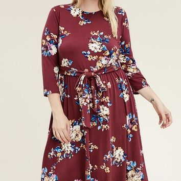 Budding Floral Burgundy Midi Dress | Plus