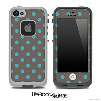 Polka Dotted Blue and Brown V3 Skin for the iPhone 5 or 4/4s LifeProof Case