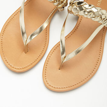 Metallic Faux Leather Slingback Sandals