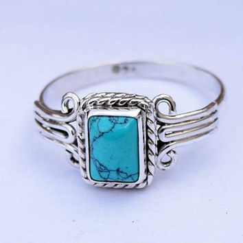 Turquoise Ring 925 Solid Sterling Silver Turquoise Stone Gemstone Ring, Girl Women Genuine Silver Ring