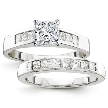 Certified 2.50 Ct. Princess Diamond Bridal Engagement Ring Set with Side Stones in 14K White Gold