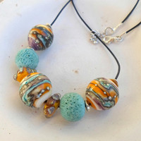 Lampwork Necklace, Handblown Hollow Etched Lampwork Beads, Artisan Handmade Glass Jewelry Christmas Gift for Her