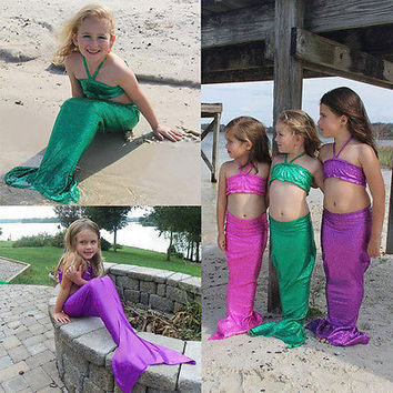 Kids Baby Girl Little Mermaid Tail Bikini Set Gilding Swimwear Swimsuit Swimming