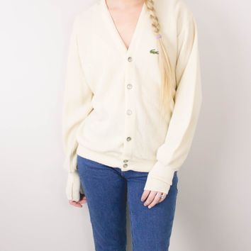 Vintage 70s White Izod Lacoste Knit Cardigan Sweater