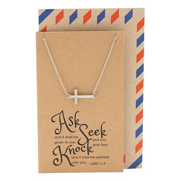 Eva Sideways Cross Necklace with Christian Birthday Card Baptism Gifts