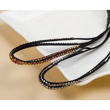 New freeshipping fashion chic vintage double leather with gems rockability punk sparkly headband boho style hair accessories