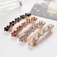 Fashion New Women Girls Elegant Crystal Rhinestone Pearl Barrettes Hair Clip Clamp Hair Accessories the cheapest products