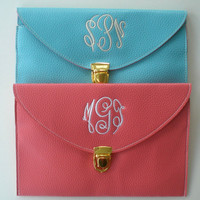 Monogrammed Clutch Purse with Detachable Chain Custom Embroidery Gift For All Occasions