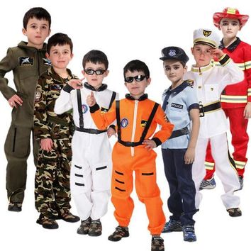 2017 Hot Halloween Costume Sam Fireman Carnival Costume Kids Cosplay Profession Costume Children Police uniform Space clothing