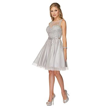 Sequins Embellished Bodice Illusion Short Prom Dress Silver