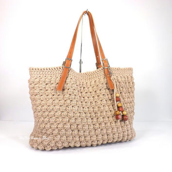 Gorgeous Crochet Handbag with Adjustable Genuine Leather Strap Handles, Crochet Bag, Tote Bag, Purse, Summer Bag, Gift Idea