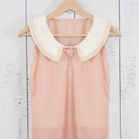Next Chapter Lace Trim Vintage Collar Sleeveless Top in Pink | Sincerely Sweet Boutique