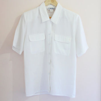 Vintage White Shirt Made in Australia Flowing, romantic size S - M / Oversized Shirt