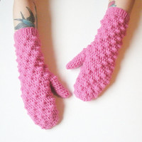 Pink Crochet Bobble Mittens, ready to ship.