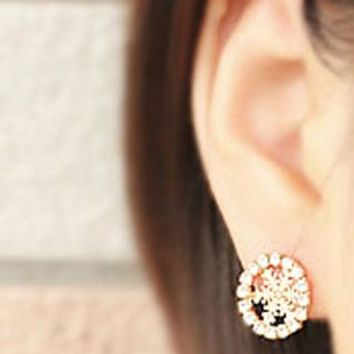 Elegant Round  Snowflake Rhinestone earrings
