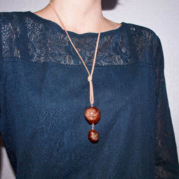 PROMO PRICE Boho necklace Real horse chestnut pendant Botanical jewelry Eco-friendly gift under 10 Conker Luna Lovegood style Nature