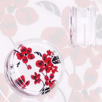 Clear Acrylic Red and White Floral Print Saddle Plug