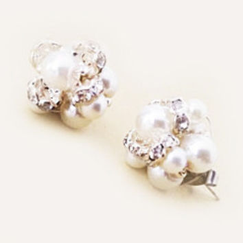 Wedding Earring Studs Ivory White Pearl Rhinestone Crystal Bridal Jewelry