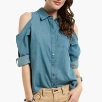 Hole In One Denim Button Up Shirt $35