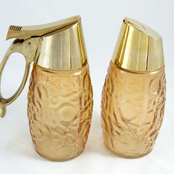Mid Century Vintage Sugar Creamer Set in Peach Topaz Glass, Gold Accents