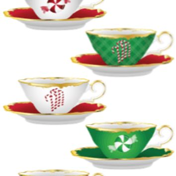 10 Christmas Tea Cups and Teapots Bookmarks