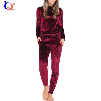 Women Crushed Velour Velvet Jumpsuit Outfit Autumn Spring Wear Two Piece Tracksuit 2017 New Arrival Winter Jumpsuit