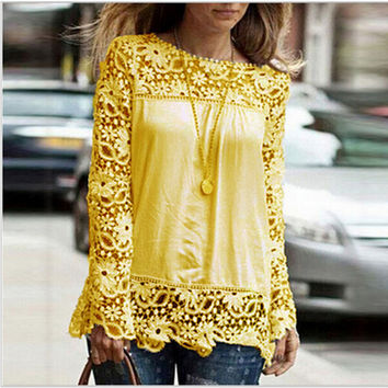 5XL large size 2015 Fashion Women Lace long Sleeve Chiffon Blouses Shirt Crochet blusa Tops blusas femininas camisa XXL