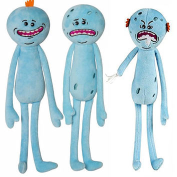 ZHAOKAOFEI 3Styles Rick and Morty 25cm Happy Sad Angry Meeseeks Stuffed Plush Toys Dolls For Kids Gift