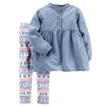Newborn, Infant & Toddler Girls' Babydoll Top & Leggings - Tribal - Sears