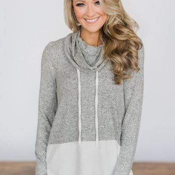 My Favorite Cowl Neck Top ~ Grey & White