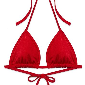 Lucy Adjustable Bikini Top - Rose Red