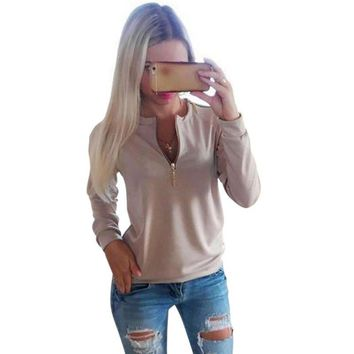 2016 Casual Ladies V Neck Zipper Long Sleeve Hoodie Women Autumn Winter Jumper Pullover Tops Women Casual Clothing Grey Pink