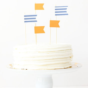 Cake Toppers Nautical Birthday Cake Boy Baby Shower Navy Blue and Orange Flag Topper Stripe Pennants Party Supplies Boy Birthday / Set of 5