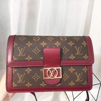 Louis Vuitton LV High Quality New Fashion Monogram Leather Shopping Leisure Shoulder Bag Handbag Women Red