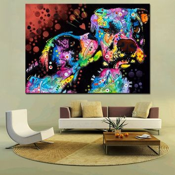 Puppy Love Large Print Oil Painting Pop Art Dog Inkjet Canvas Print Art Posters for Dog Lovers