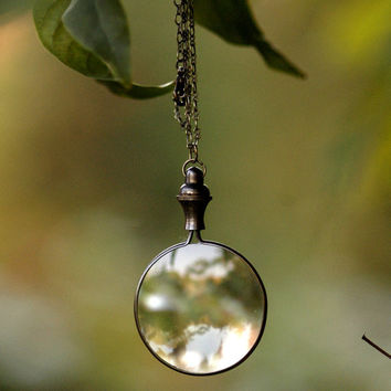 $27 Antiqued Brass Monocle Necklace