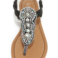 Oasis Life Black Beaded Thong Sandals