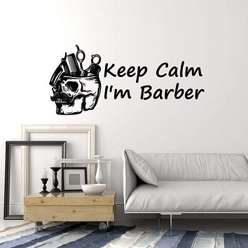 Vinyl Wall Decal Barber Tools Skull Barbershop Quote Hair Salon Decor Art Stickers Mural (ig5627)