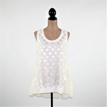 Sleeveless White Top Boho Summer Top Women Large Silver Polka Dot Top Metallic Tank Top High Low Boho Clothing Womens Clothing