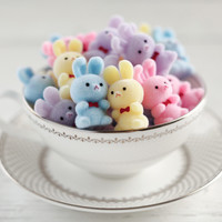 Miniature Flocked Plastic Bunnies - 12 Fuzzy Easter Bunny Craft Figurines