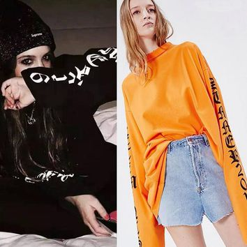 Personality Letter Print Unisex Loose Round Neck Long Sleeve Couple T-shirt Tops