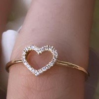 Tiny Diamond Open Heart Ring | Nina Segal Jewelry