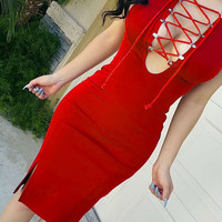 Red Lace Bodycon Cris-Cross Front  Dress