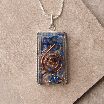 Lapis Orgone Healing Necklace - 24 inch Silver Chain