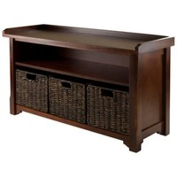 Winsome Trading Granville Storage Bench with 3 Small Baskets in Antique Walnut/Chocolate