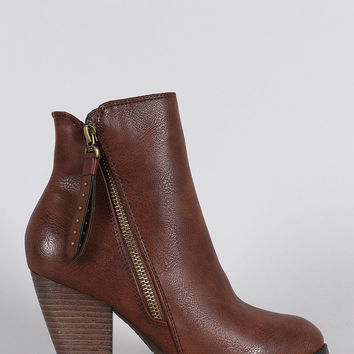 Western Cowgirl Chunky Stacked Heeled Ankle Boots