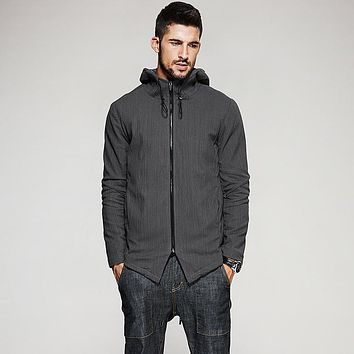 KUEGOU New Autumn Mens Hooded Jackets And Coats Pockets Zipper Coffee Color Brand Clothing For Man's Slim Clothes Male Tops 3805