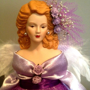 Red haired Angel -Lavender Angel - Pretty Room Accent  or Holiday Treetopper Free Personalization