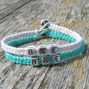 Couples Bracelets, Set of Two, BAE, Before Anyone Else, White and Teal Handmade Hemp Jewelry