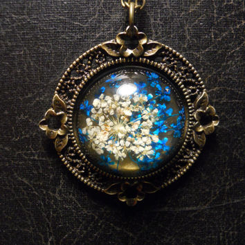 Teal Blue Queen Annes Lace Preserved Specimen Necklace